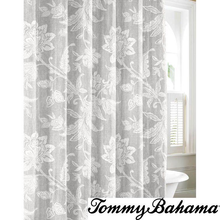 Tommy Bahama Bali Grey Cotton Shower Curtain