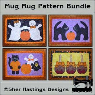 halloween mug rug bundle make all four mug rugs youcanmakethiscom - Halloween Rugs