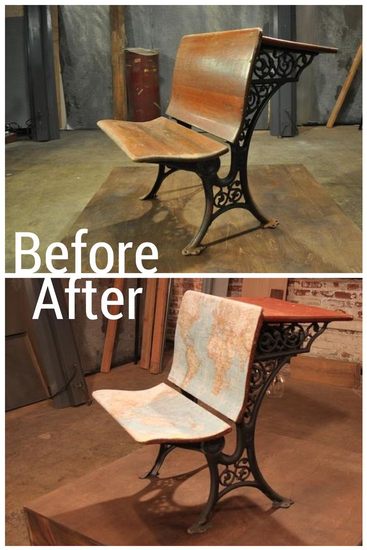 Not a 1930's School Desk For Long...Maps Bring the Seating New Life.