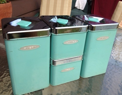 RARE Mid Century Masterware VTG 1950s Tiffany Blue Chrome Kitchen Canister Set