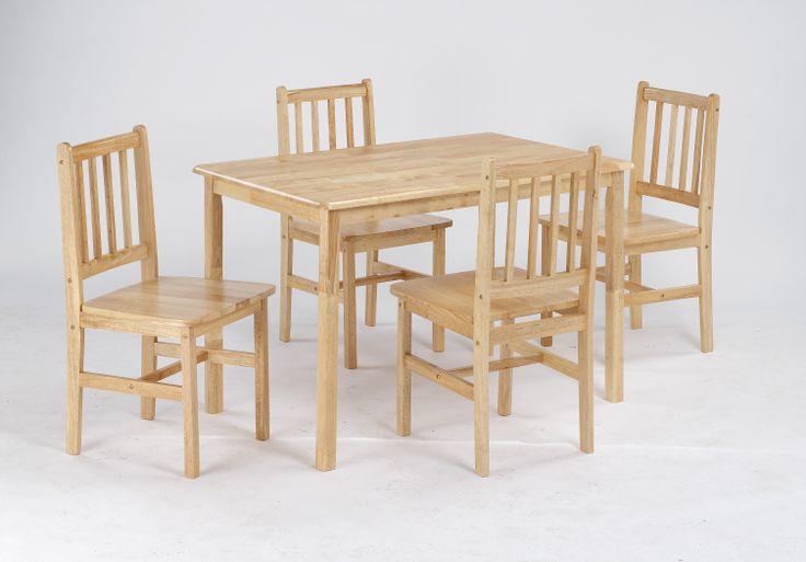 Galway  Natural Beech finish table with 4 solid seat chairs.  Table Dimensions: L1145mm x W715mm  Chair Dimensions: W395mm x D490mm x H880mm Seat Height: W440mm