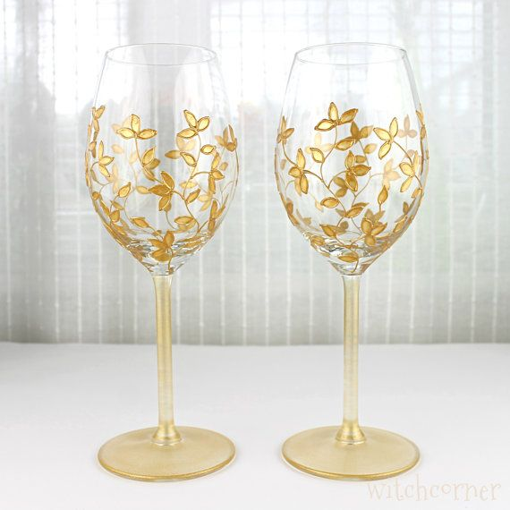 Wine Glasses Wedding glasses  Gold Toasting Glasses Gold