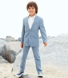 chambray suit - He'll be one sharply dressed young man in this fine 2-piece suit. The fully-lined jacket has double buttons on front (and triple at the cuffs), welt pockets, a back vent and notched lapels -- all details Dad will approve of. The straight-leg pants have welt pockets front and back, and an adjustable waistband.