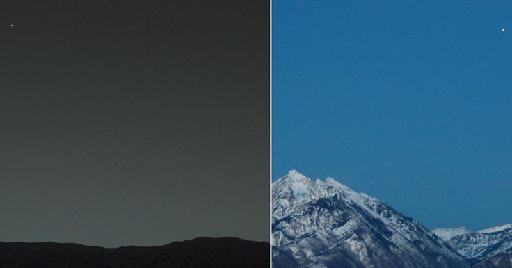 Left Photo NASA/JPL-Caltech/MSSS/TAMU | Right Photo Bill Dunford   In this fascinating comparison photo we see a view of Earth from Mars (as seen by NASA's Curiosity rover) and Mars from Earth as captured by Bill Dunford. Mars is the fourth planet from the Sun and the second smallest planet in the Solar System after…