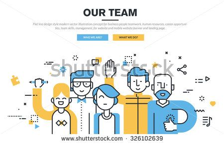 Flat line design style modern vector illustration concept for business people teamwork, human resources, career opportunities, team skills, management, for website banner and landing page. - Shutterstock Premier