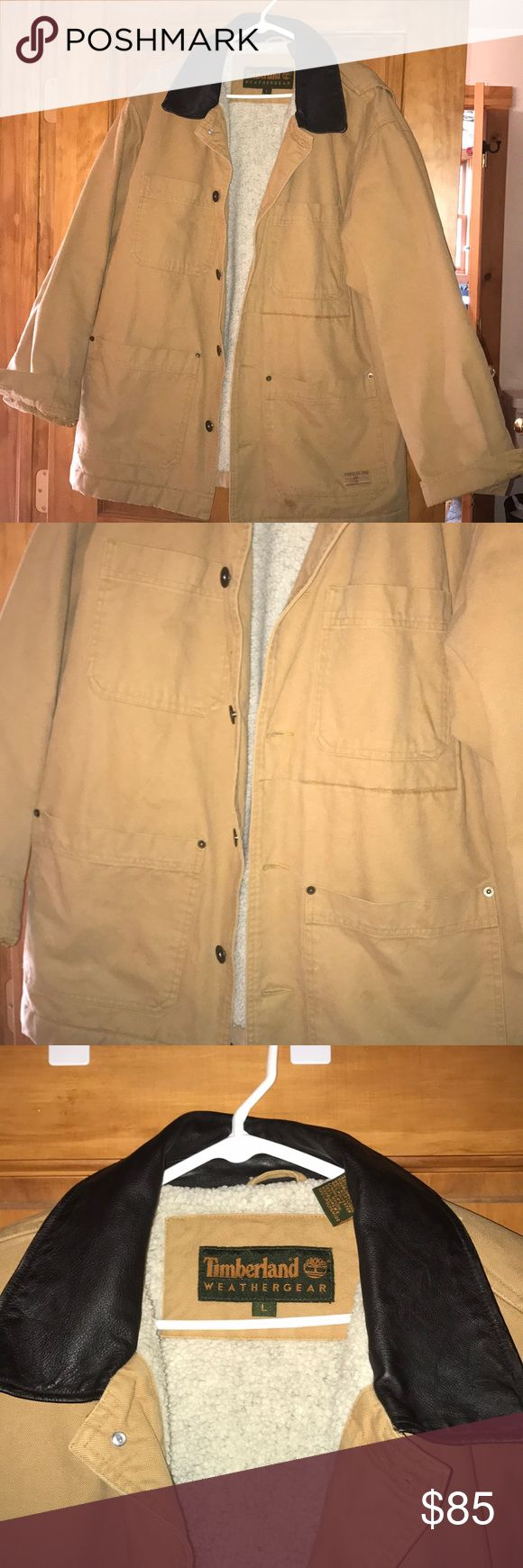 Men's timberland jacket Has double pockets on front. No flaws and never worn. Really warm. Fuzzy inside. Timberland Jackets & Coats