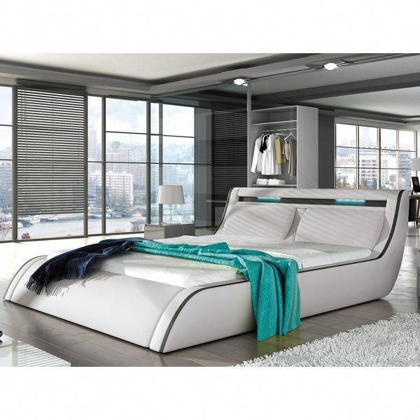 Peabody Modern European Kingsize Upholstered Platform Bed Featuring A Unique Curved Design Built In Head Modern Platform Bed Sofa Bed Furniture Bedroom Design