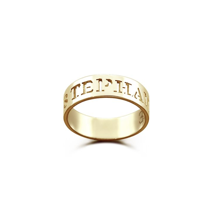 5mm 14k Gold Personalized Cut Out Name Ring - Made to Order - Ships in 5-7 business days - Sizes 4 to 9
