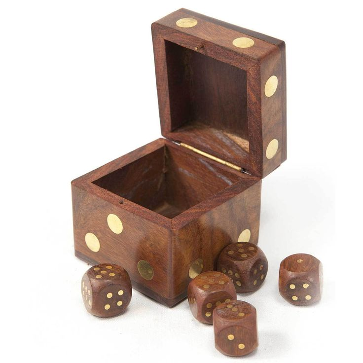 Hand Carved Wood Dice Box with Five Dice (India) | Overstock.com Shopping - The Best Deals on Games