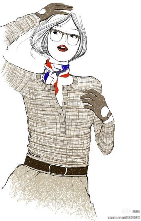 chic style for office lady,Gradient glasses  is the focus #eyewear #eyeglasses #fashion #illustration