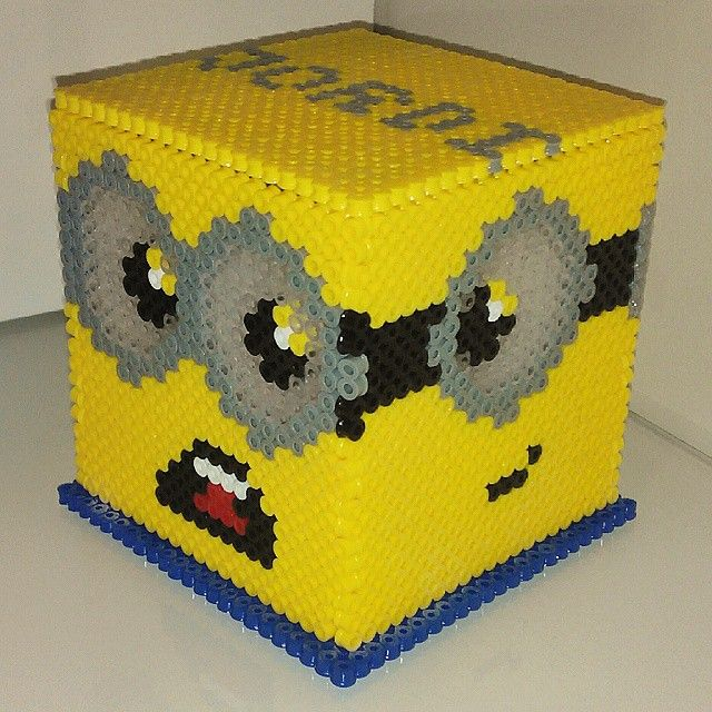 Minion box perler beads by PixelsCustom