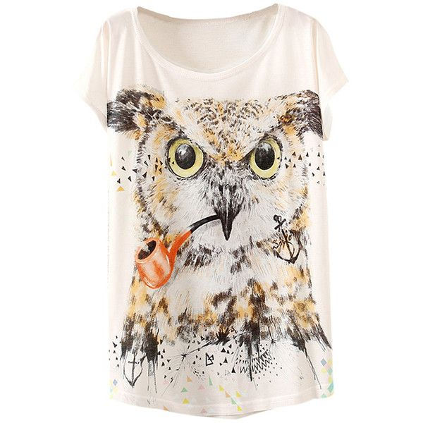 Beige Bat Sleeve Owl of Smoking Printed Fashion Ladies T Shirt (895 RSD) ❤ liked on Polyvore featuring tops, t-shirts, beige t shirt, beige top, pink t shirt, bat sleeve tops and batwing sleeve tops
