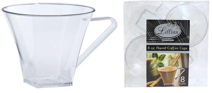 Clear 8 oz. Plastic Flared Square Coffee Mugs Set - 24 Units