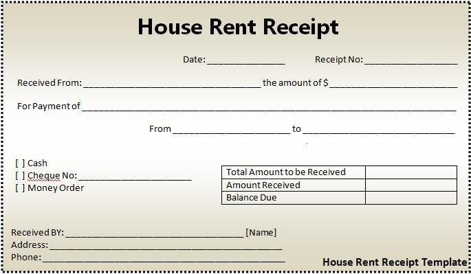 rent deposit receipt template excel