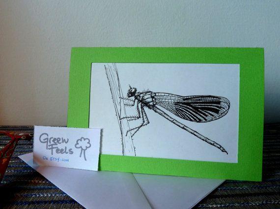 Biglietto d'auguri con disegno fatto a mano: di GreenFeels su Etsy