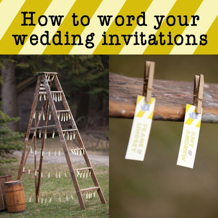 This website has countless wording examples for invitations, RSVP cards, dinner menu choice cards, etc. Great ideas!