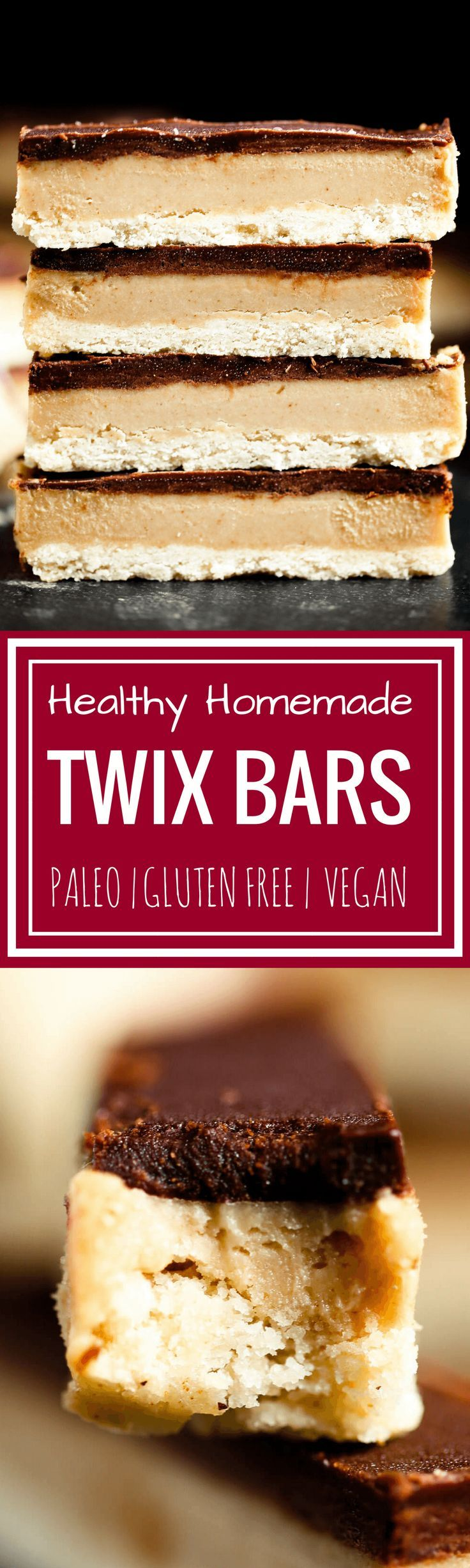 Game changer: Make these healthy paleo Twix bars at home! You won't be able to tell the difference between these copycat candy bars and the popular original. Game changer: this recipe for healthy homemade paleo Twix candy bars. They are paleo, gluten free, sugar free, and vegan. Healthy homemade Twix bar recipe. Homemade paleo Twix candy bars. Homemade Twix bars. Healthy candy recipe. Homemade paleo candy. Homemade paleo chocolate candy. Easy paleo wit bars. Easy best homemade Twix bars.