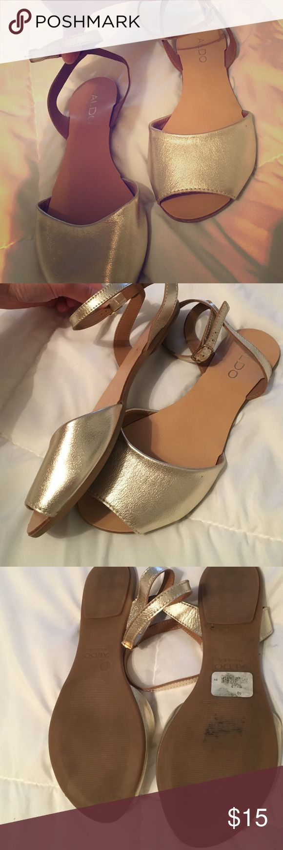 Open Toe Aldo Flats, Size 7 Champagne colored open toe flats Aldo Shoes Sandals