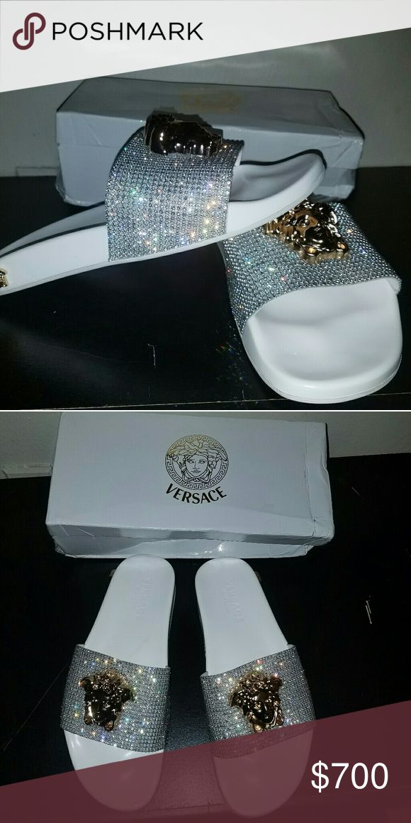 Designer Slippers Worn once. Brand new men Versace Slippers. Shoes Slippers