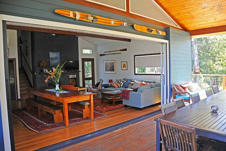 Large entertaining deck with opening doors with screens