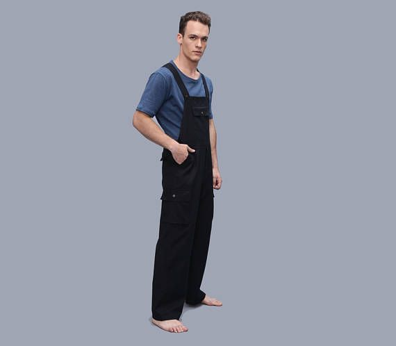 4c624c370681 Mens Black overall - Cotton Men s Jumpsuit - Romper - dungarees - workwear  - cargo jumpsuit - Black