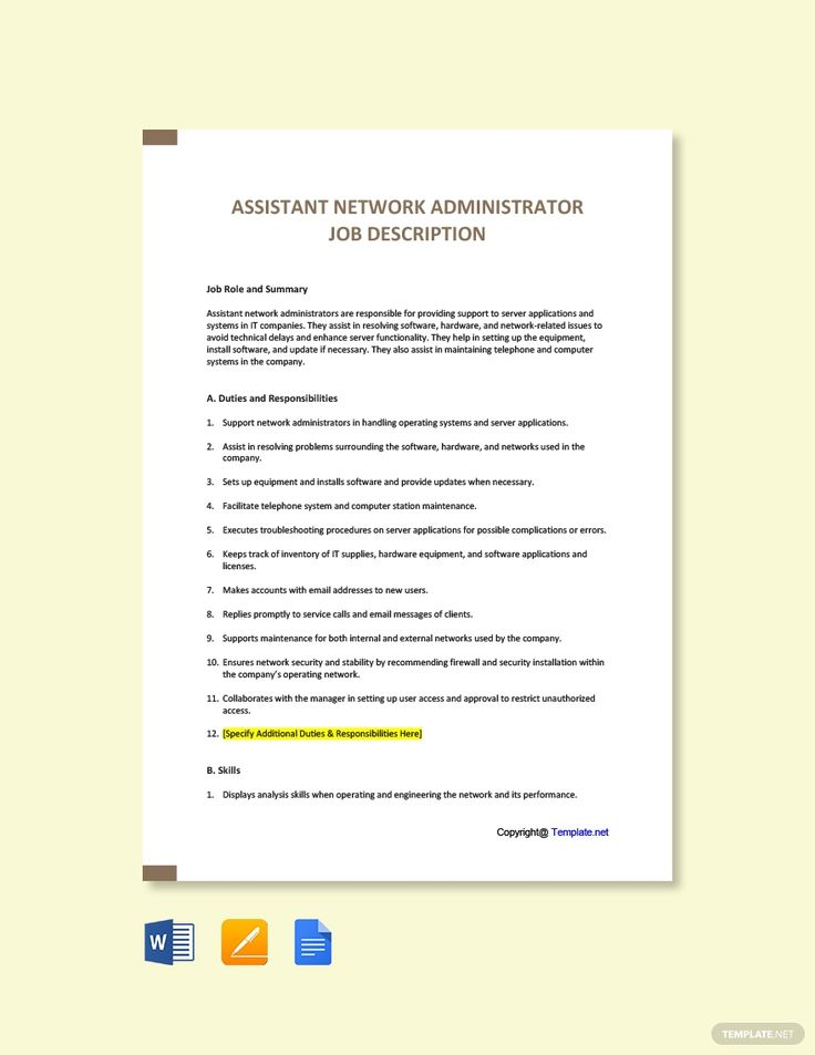 Free Assistant Network Administrator Job Description