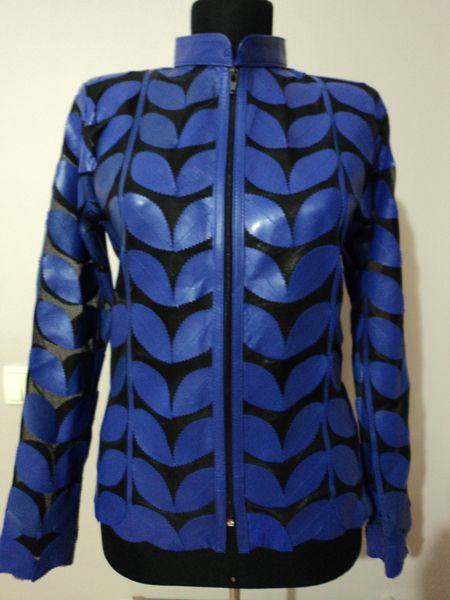 Buy Online Handmade Very Soft Genuine Lambskin Blue Leather Leaf Jacket for Women. All Regular and Plus Sizes Available. Free Shipping + Returnable. [ BUY 2 SAVE $20 ] ...
