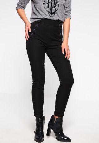 Pantaloni cu talie inalta elastici skinny cu buzunare si nasturi decorativi