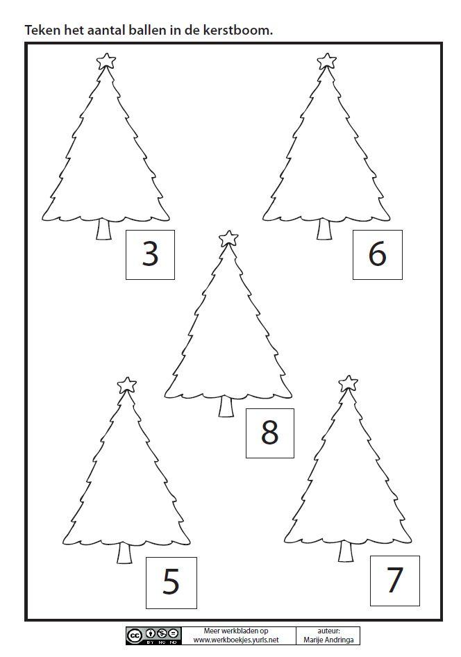 Teken het aantal ballen in de kerstboom. [Marije Andringa]