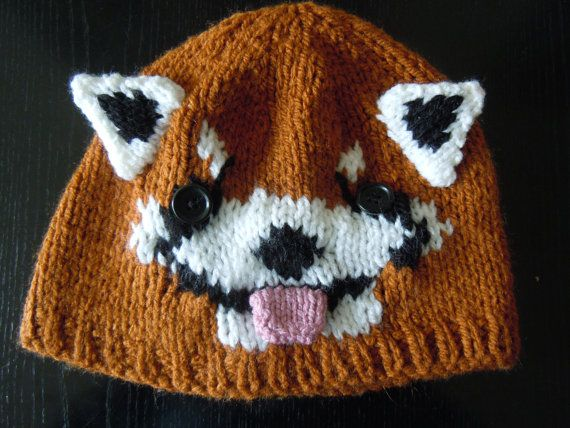 Hand knitted red panda hat by Patsknittedhats on Etsy, £19.95