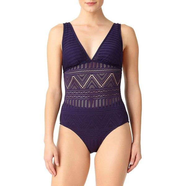 Anne Cole Women's One-Piece Crochet Swimsuit ($98) ❤ liked on Polyvore featuring swimwear, one-piece swimsuits, navy, 1 piece swimsuit, plunge swimsuit, anne cole swimsuits and swim suits