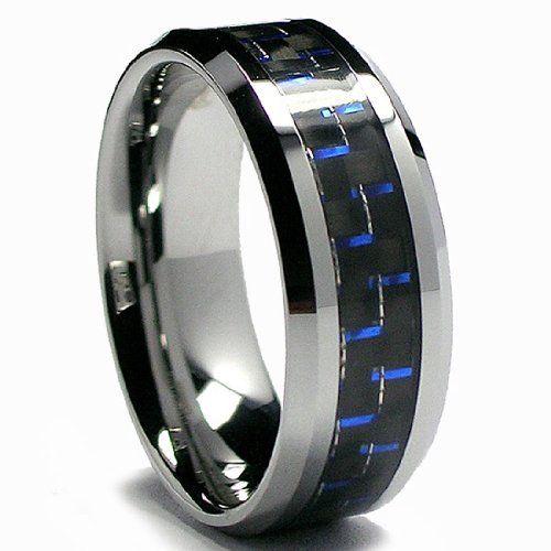 8MM Men's Tungsten Carbide Ring W/ BLACK & BLUE Carbon Fiber