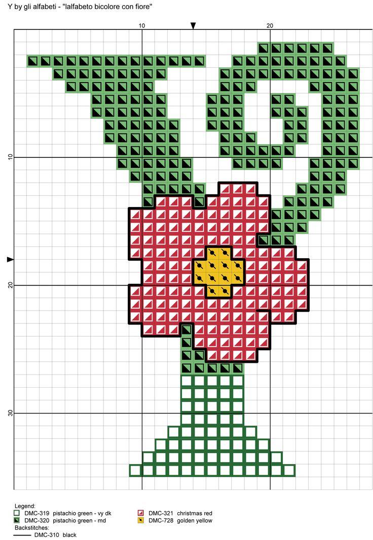 alfabeto bicolore con fiore: Y
