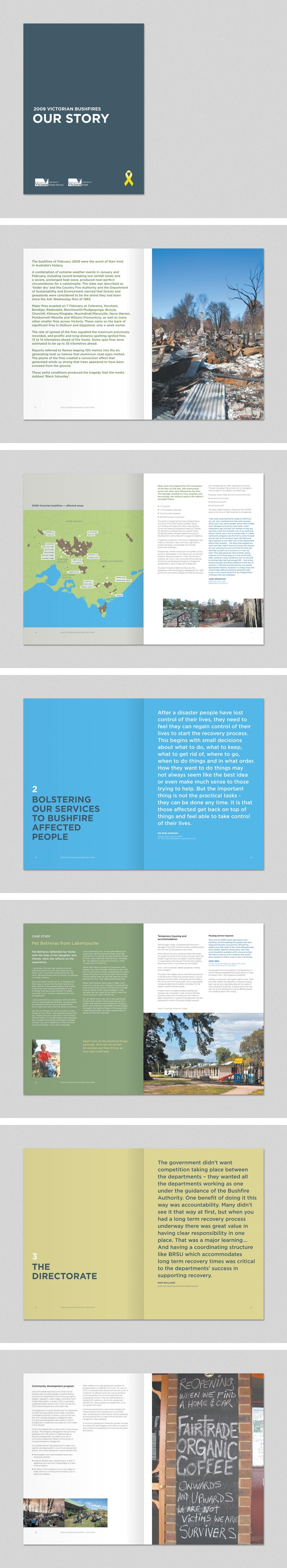 Book for Department of Human Services on the 2009 Victorian bushfires. www.fenton.com.au #communication #PR #branding #graphicdesign