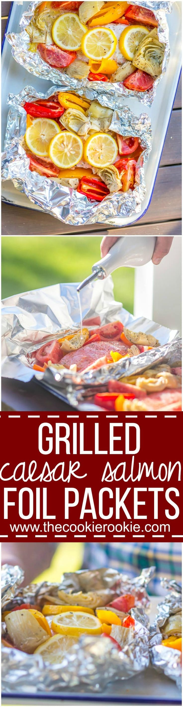 These GRILLED CAESAR SALMON FOIL PACKETS are the perfect way to enjoy seafood on the grill this Summer. Salmon, tomatoes, artichokes, and sweet pepper in foil...easiest most delicious dinner ever. via @beckygallhardin