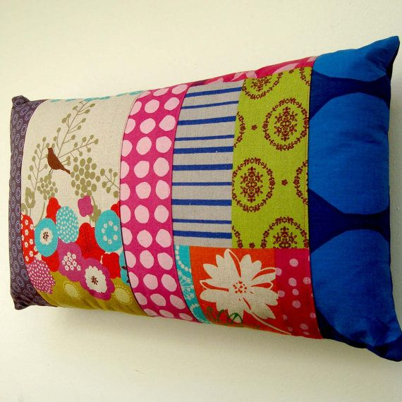 Modern Patchwork Pillow : Modern Patchwork Pillow / Cushion Cover - Bright contemporary spots and stripes with Birds ...