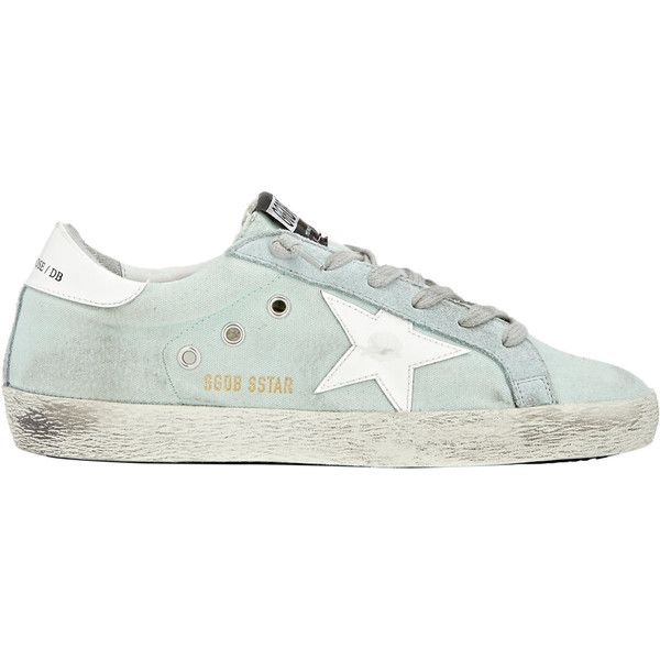 Golden Goose Distressed Superstar Sneakers ($598) ❤ liked on Polyvore featuring shoes, sneakers, green, wedges shoes, leather low top sneakers, green flat shoes, green sneakers and leather shoes