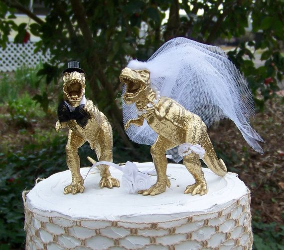 Dinosaur Wedding Cake Topper T-Rex Cake Topper by sugarplumcottage