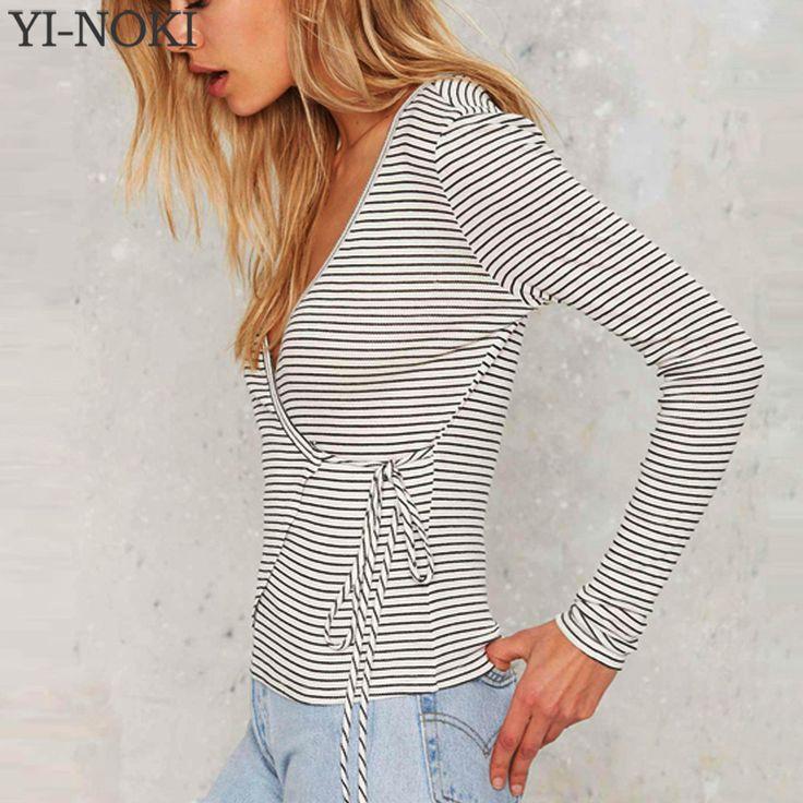 YI-NOKI Sexy V Neck T-shirt Women Stripe Long Sleeved T shirt Irregular Bandage Women Tops Casual Tee Shirt Femme Tshirt