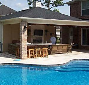 backyard patios decks outdoor kitchens and pools bear construction patio covers - Patio Overhang Ideas