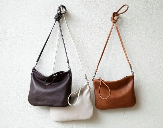 free shipping - small leather crossbody bag - CLUTCH with clip on strap - small leather bag - select leather color in drop down menu