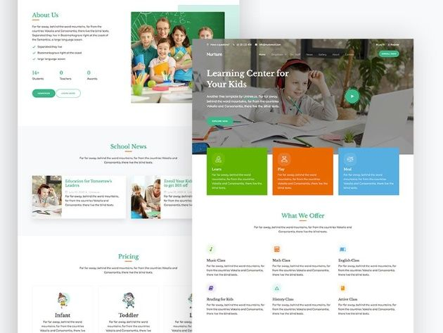 Nurture Free Educational Html Website Template In 2020 Css Templates Css Website Templates Website Template