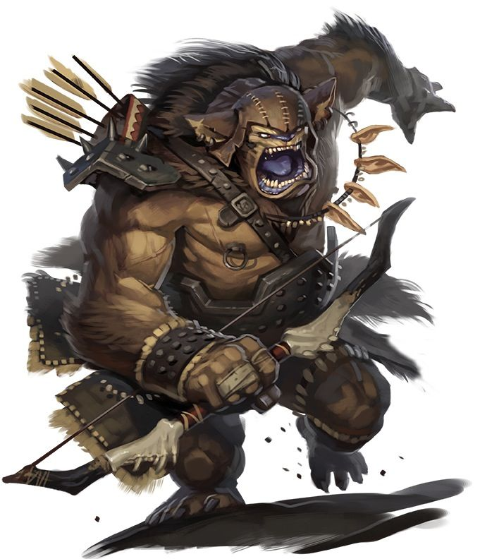 Bugbear (Celtic) - The weakest bogeyman variant. These pathetic creatures, unlike their more powerful cousins, have little magical abilities. They are said to be the crossing of bogeyman and goblins. They just bully weaker creatures around, tearing their flesh and eating their bones while the victims watch in pain are their main hobbies. They often serve as war-leaders in goblin bands or serve more powerful bogeymen.