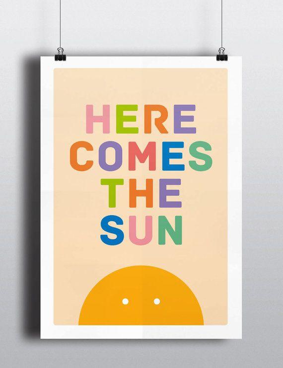 Baby Art Print Here Comes The Sun Beatles by HelloFridaysDesign, $25.00