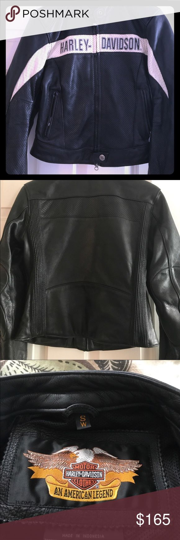 🔥Women's Harley Davidson Leather Jacket🔥 Women's HD leather jacket, size small. An absolute must if you ride or a passenger. Padded elbows, back zipper vents for airflow. This jacket is in pristine condition, no scuffs, fading, rips or tears to the leather. Only reasonable offers will be considered. Harley-Davidson Jackets & Coats