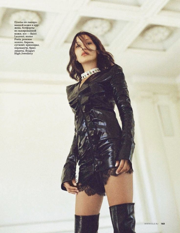 Top model Bella Hadid lands ELLE Russia's September 2017 cover. Lensed by Ben Morris, the brunette stunner wears a Prada top with a Bulgari High Jewellery necklace. Inside the magazine, Bella shows off her rebellious side in leather looks. Stylist Vadim Galaganov dresses the 20-year-old in the designs of Hermès, Saint Laurent, DSquared2 and more.