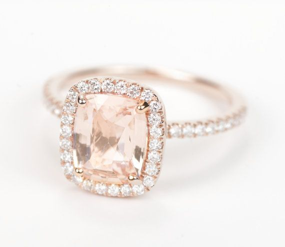 Certified Peach Champagne Cushion Sapphire & Diamond Halo Engagement Ring 14K Rose Gold