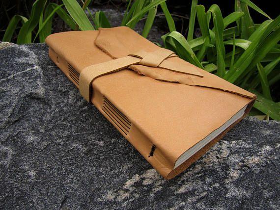 Wide 9x6 Saddle Tan Leather Journal - Soft Bound Deertan - Handmade Wrap Journal