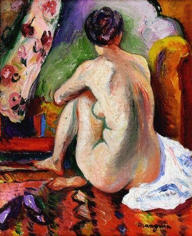 MANGUIN Nu assis de dos (1915) Huile sur toile (35 x 28)