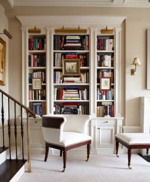 Fantastic white built-in bookcase, library lights, sconces - classic
